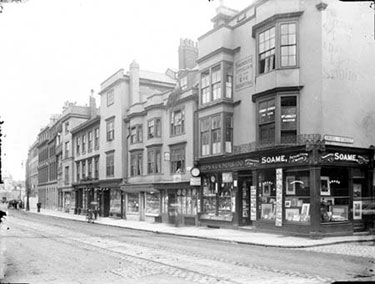 High Street, Oxford, Oxfordshire. View of the houses between Grove Street and Oriel Street demolished to make way for the Rhodes Building of 1910, designed by Basil Champneys and paid for by Cecil Rhodes. At the junction with Oriel Street is the of James