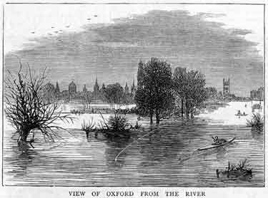 The Inundations, illustration showing flooding along the River Thames with the city in the background (Image from: The Graphic, Nov. 1876, p. 516)
