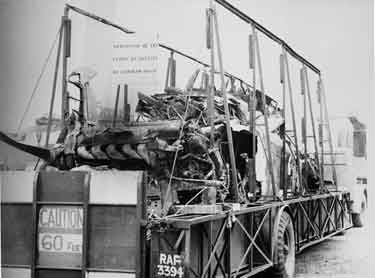 Transporter arrives at Cowley with the remains of a Messerschmidt Me110 flown to Britain by Rudolph Hess