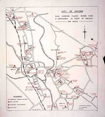 City of Oxford. Plan showing places where food is obtainable in event of serious Air Raids