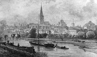 Engraving of Abingdon, Oxfordshire, across the river Thames, with St Helen's church, the Gaol and the County Hall, and a barge in the foreground