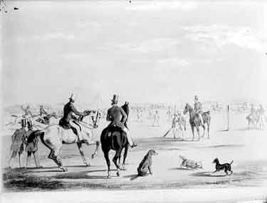 A sketch published by J. Ryman of Oxford, early 19th century, showing sporting activities taking place on the green, including horse riding and a game of cricket.